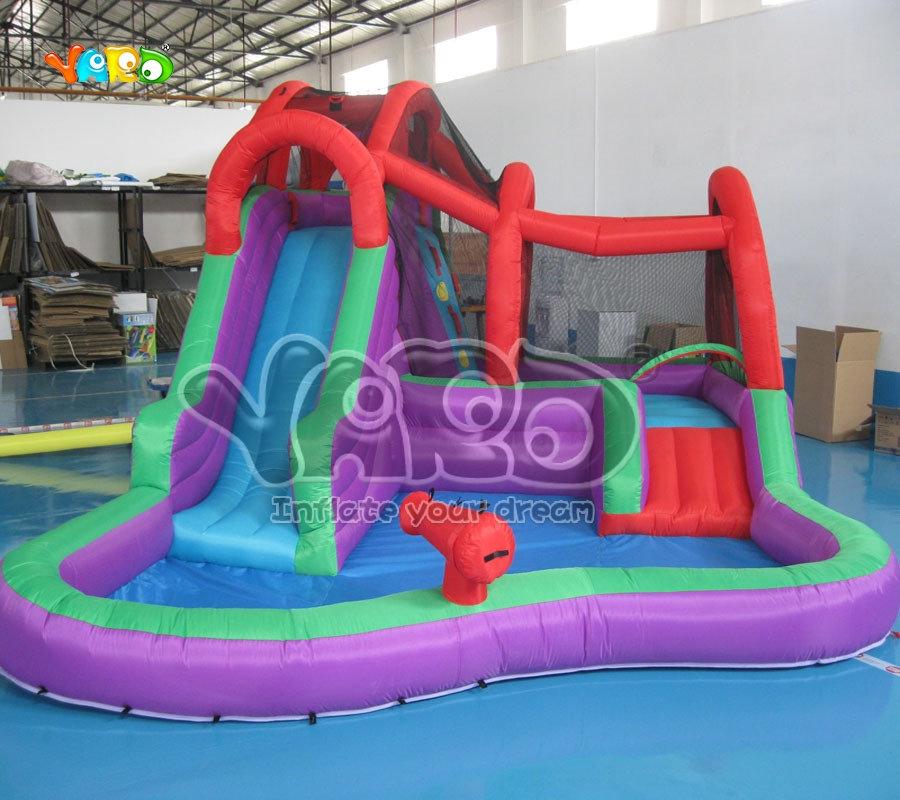Water Slide Inflatable Water Park With Water Pool Inflatable Water Game jungle commercial inflatable slide with water pool for adults and kids