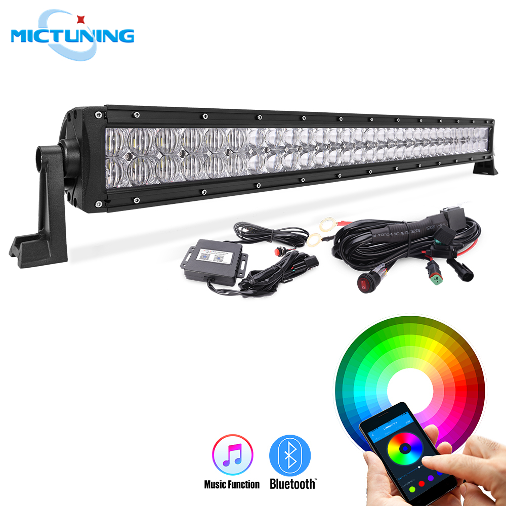 MICTUNING 22 120W 32 180W 5D RGB Straight Car Led Light Bar w Bluetooth App Remote