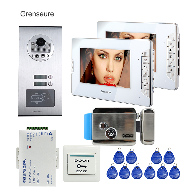 Apartment 7 LCD Video Door Phone Intercom System 2 Monitor + RFID Access Door Camera for 2 Family + Electric Lock FREE SHIPPING free shipping 7 screen video intercom door phone system 2 white monitor outdoor rfid access doorbell camera electric lock