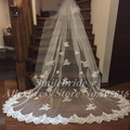 2017 New Popular White or Ivory Cathedral Wedding Veil 3 Meters High Quality Lace Bridal Veil Velo Da Sposa Bruidssluier