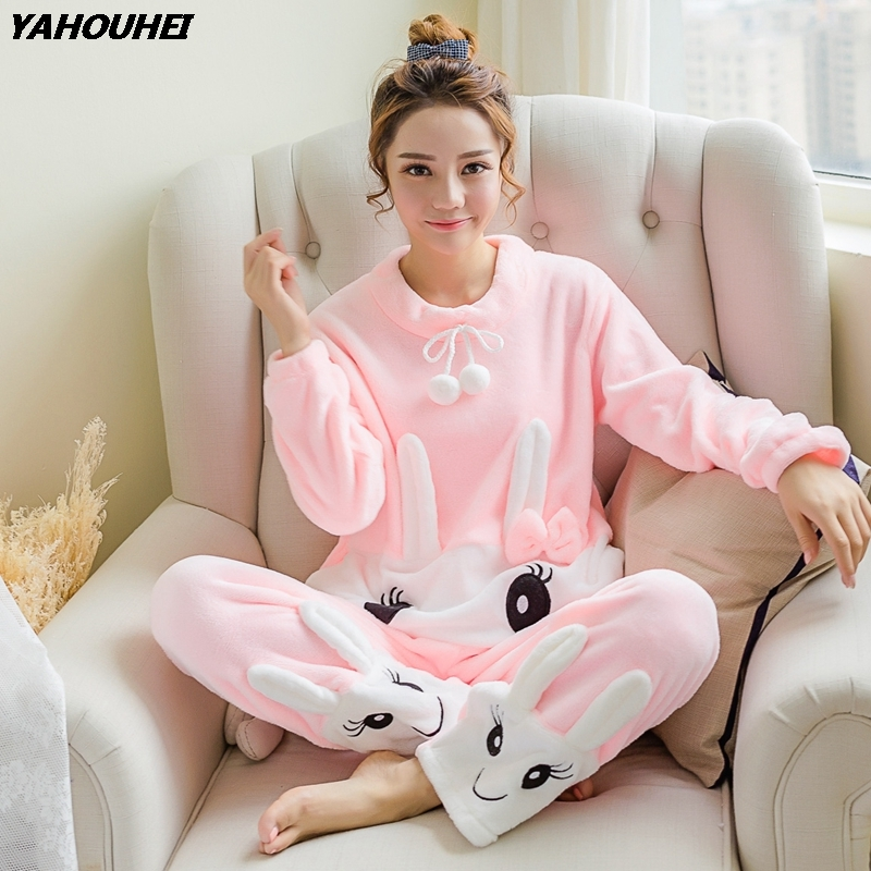 2018 Autumn Winter Thick Warm Flannel   Pajama     Sets   for Women Long Sleeve Coral Velvet Pyjama Cute Girl Cartoon Sleepwear Homewear