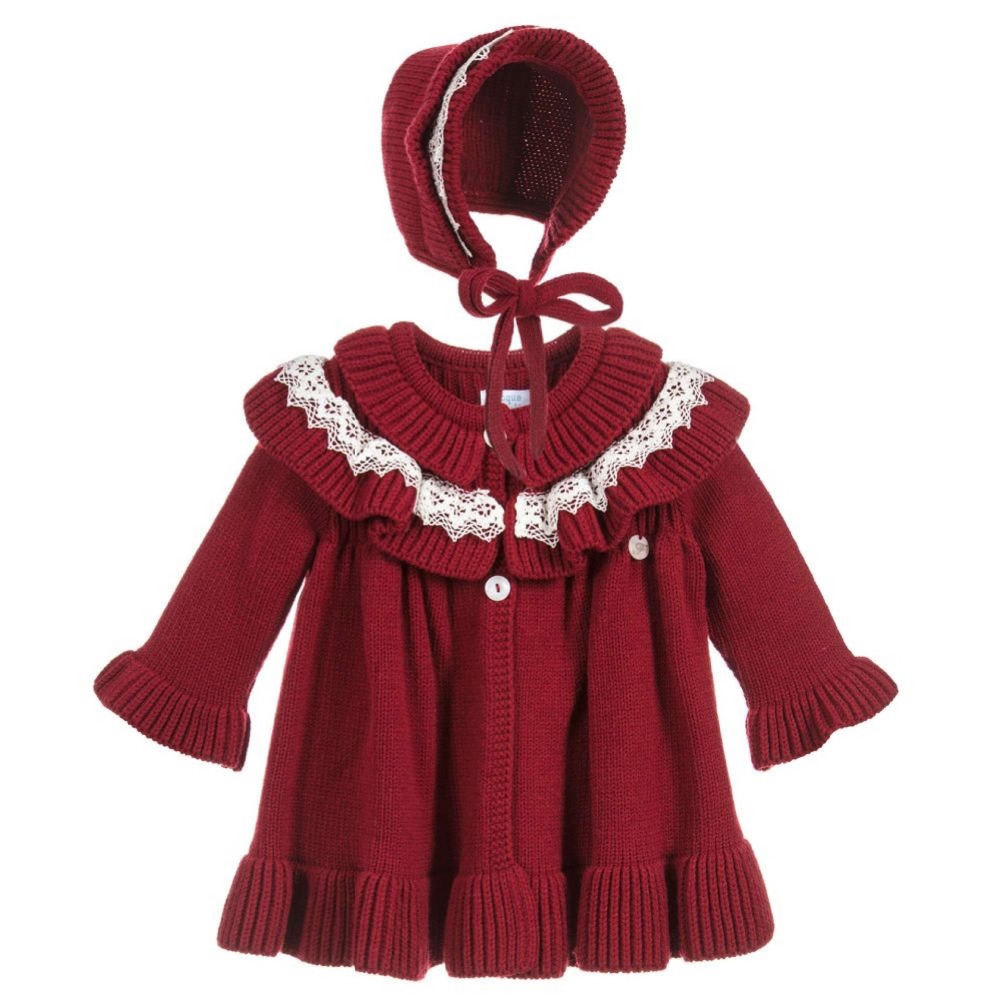 Winter Girl Baby Knitting Sweater Coat Dresses Kids Royal Evening Party Dress Knit Cardigan Coat baby Christmas Dress Knit Hat все цены