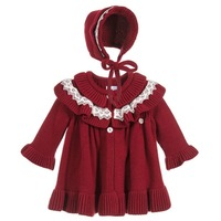 Winter Girl Baby Knitting Sweater Coat Dresses Kids Royal Evening Party Dress Knit Cardigan Coat baby Christmas Dress Knit Hat