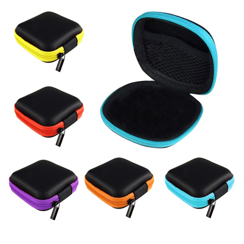 Travel Earphone Wired Zipper Pocket Case Data Line Cables Storage Portable Bag For Earphone Earbuds Holder MP3 MP4 Hard EVA Box ...
