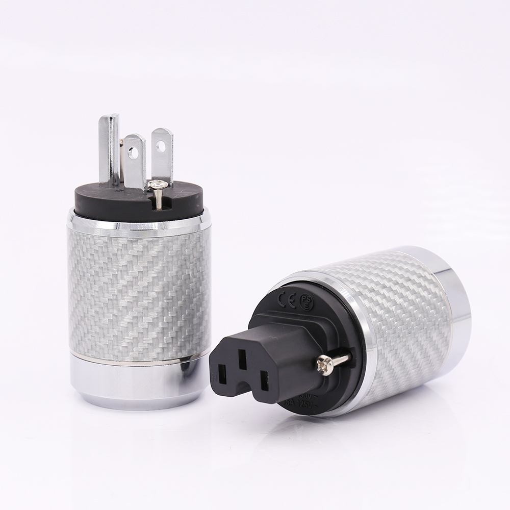 Free shipping Carbon Fiber US Mains Power Plug IEC Plug Rhodium Plated Connector hifi carbon fiber rhodium plated us power plug connector iec audio plug hifi