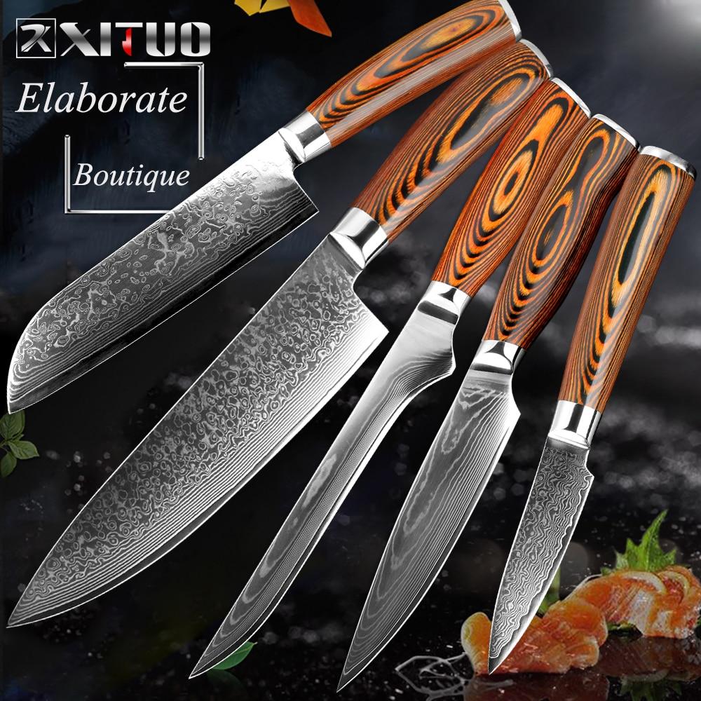 XITUO japonés vg10 Damasco Cuchillo Santoku de acero inoxidable de alto carbono Cuchillo de cocina Cuchillo de corte de deshuesado Cuchillo de corte nuevo