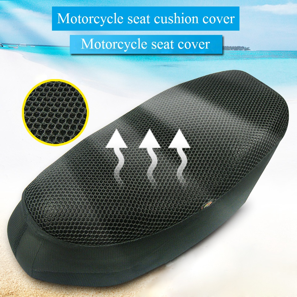 Universal Motorcycle Seat Cover 3D Sun Proof Heat Insulation Protect Seat Cover Honeycomb Mesh Breathable Sunscreen Seat Cushion