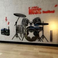 Music Band Drum Set Pattern Acrylic Stickers School Boy's Room Decorations Kids Birthday Xmas Gift Wall Sticker