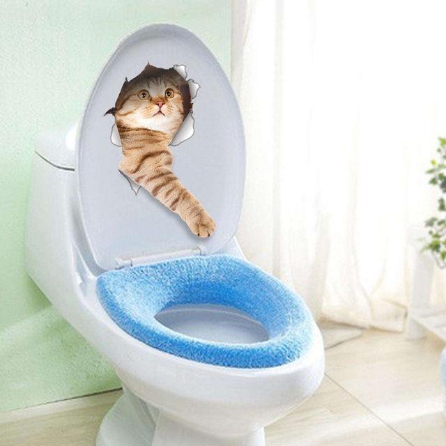 DIY 3D perro gato Asientos aseo Adhesivos baño Art Decal vinilo ...