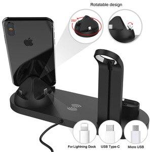 Image 4 - Support de chargeur sans fil 4 en 1 pour iPhone 11 8 XS XR Apple Watch Airpods Pro 10W Qi Station de chargement rapide pour Samsung S10 S9