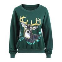 Women Christmas Hoodies Sweatshirts Deer Printed Pullover Long Sleeve Sweatshirt WS4573M