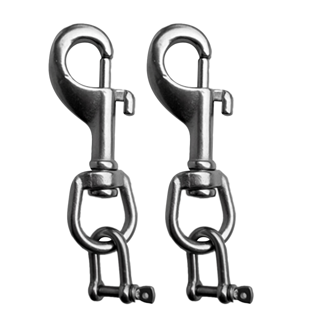 115mm 316 Stainless Steel Double Ended Spring Snap Hook Key Holder Clip Keychain Buckle Carabiner MAGT Double Ended Snap Hook