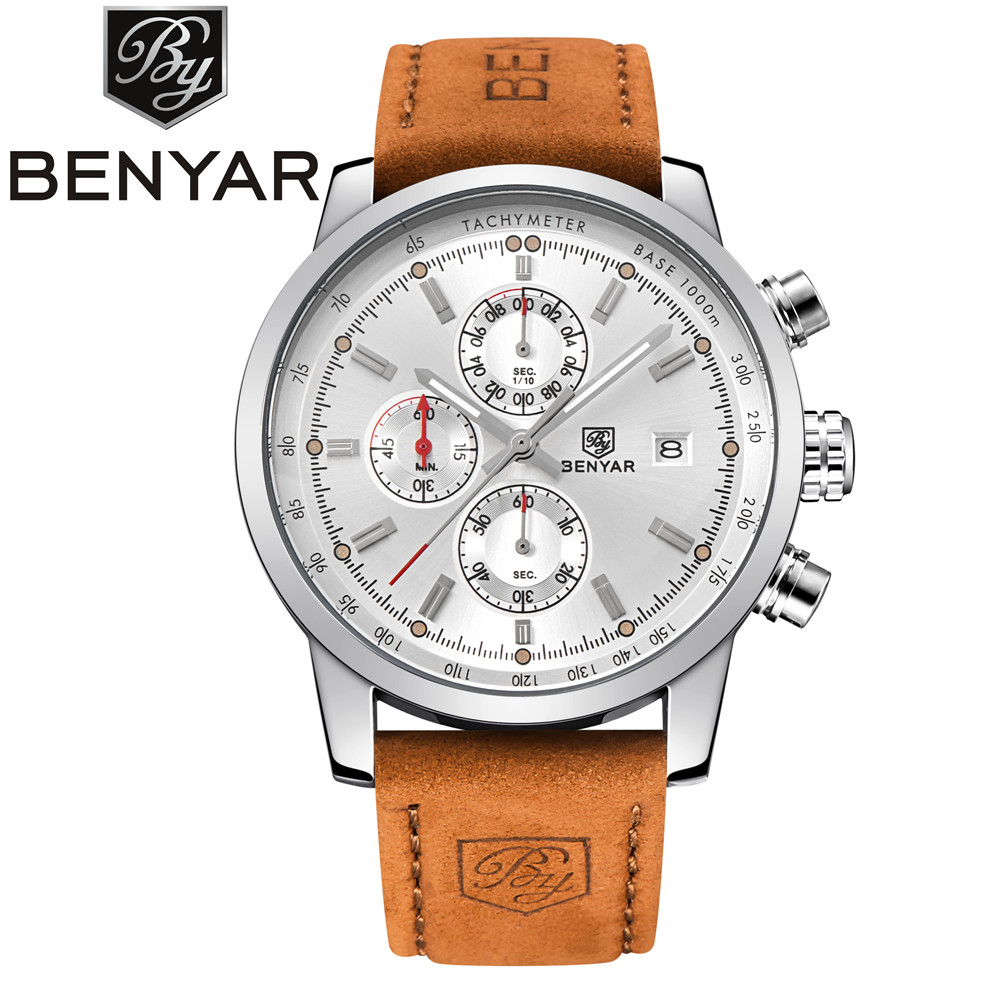 Mens Watch Benyar Luxury Brand Quartz Watch Sport leather waterproof Watch chronograph military Men's Watch Relogio Masculino