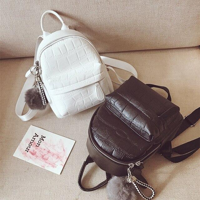 db92140d92 2019 PU Leather Backpack with hair ball Women Mochila Travel Backpacks  School Bags For Girls Mini