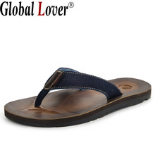 Global Lover 2017 New Genuine Leather Summer Men Beach Shoes Casual Flip Flops Comfortable Beach Slippers Handmade Sandals Male