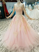 Pink Gold Evening Dresses 2019 Full Sleeves robe de soiree Lace Appliques Crystal High Neck abiye Prom Formal Party Gowns Long