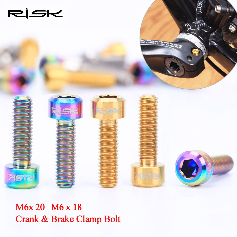 RISK 4pcs/lot M6*18mm <font><b>M6x20mm</b></font> <font><b>Titanium</b></font> Alloy Bicycle Crank Bolt / Brake Clamp Fixed Screw for Mountain Bike Cycling Ti Bolts image