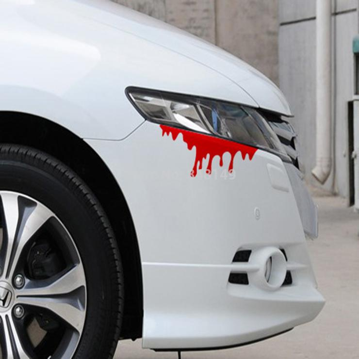 Aliauto car styling dripping blood funny car stickers and decals accessories for volkswagen polo golf ford focus 2 3 peugeot in car stickers from