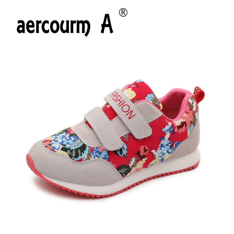 aercourm A Children Print Running Shoes Casual Girls Shoes Boys Flat Sneakers Spring Autumn Suede Leather Sports Shoes 26-36