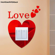 Multi color LOVE mirror switch sticker acrylic removable DIY Home Furnishing wall decorative stickers