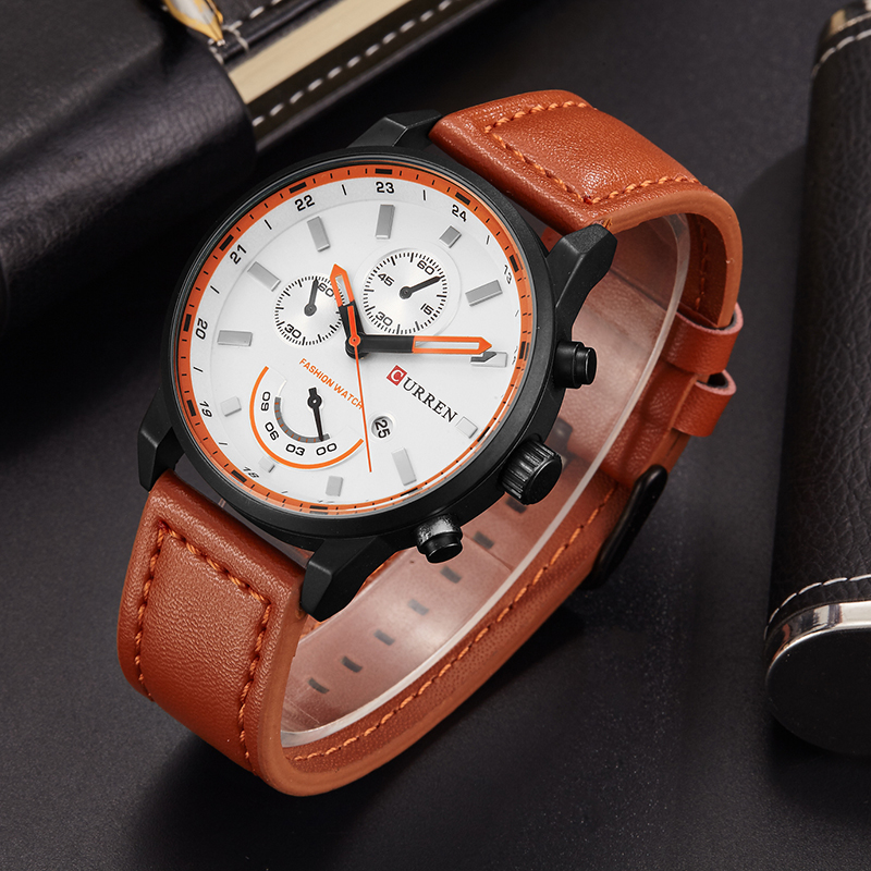 Men's Fashion Casual Sport Quartz Watch Mens Watches Top Brand Luxury Leather Drop Shipping Wristwatch Male Clock CURREN