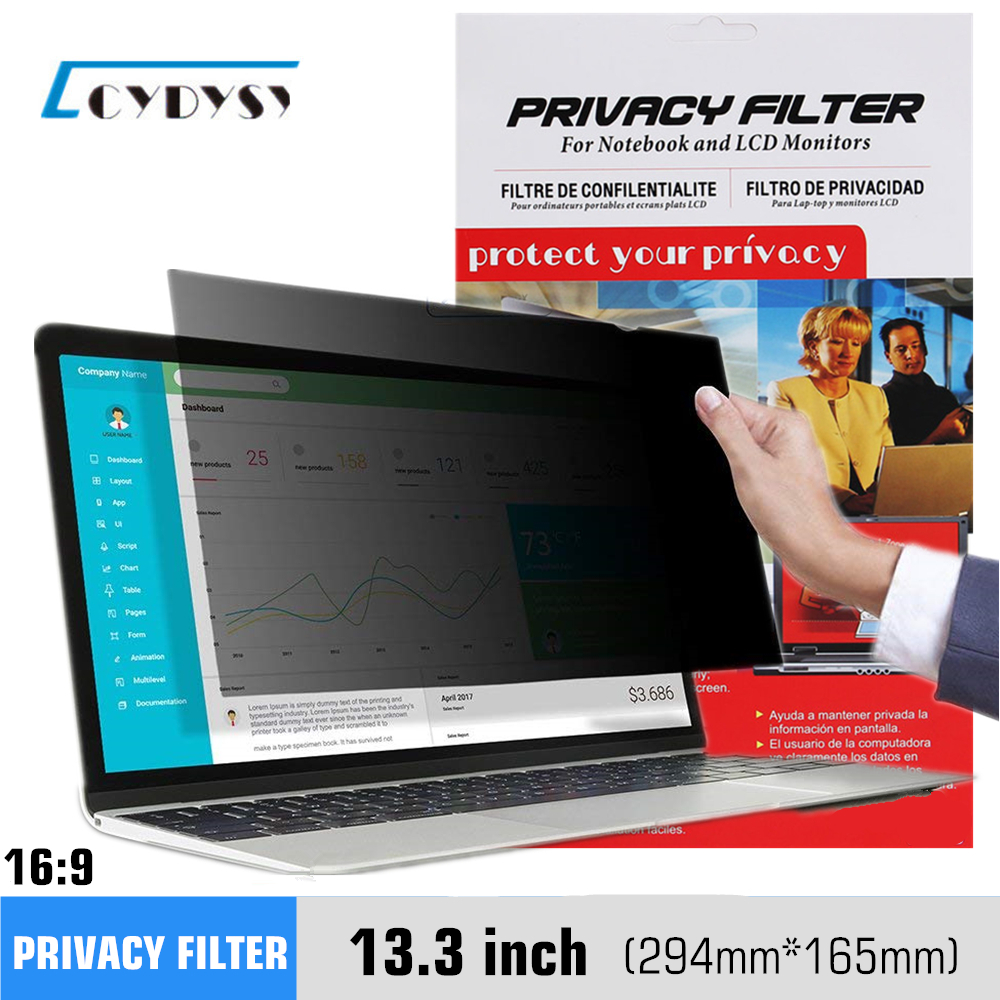 13,3 tommer Privacy Filter Anti-Glare Screen Beskyttelsesfilm til Widescreen 16: 9 Laptop 294mm * 165mm