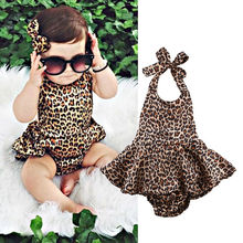 Fashion Infant Baby Girl Summer Leoparad Backless Bodysuit Jumpsuit Outfits Summer Sunsuit 0-24M