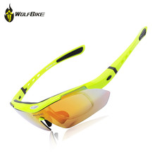 WOLFBIKE Mens Cycling Eyewear Polarized Cycling Sun Glasses Outdoor Sports Bicycle Glasses Bike Sunglasses Goggles 5 Lens Green цена 2017