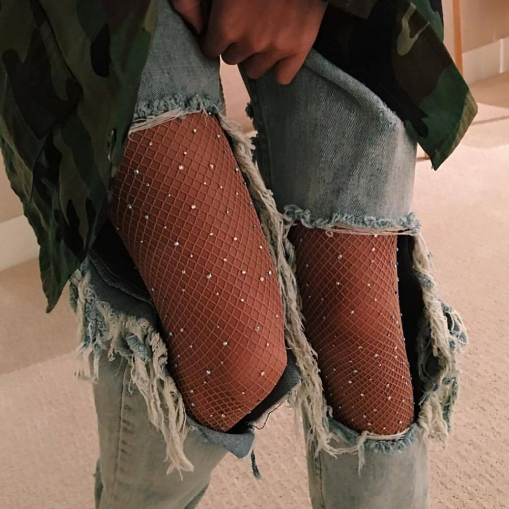 2018 Trend all-match Sexy Rhinestone Mesh Fishnet Pantyhose 5 colour women tights Slim Fishnet Tights Stockings Party Club