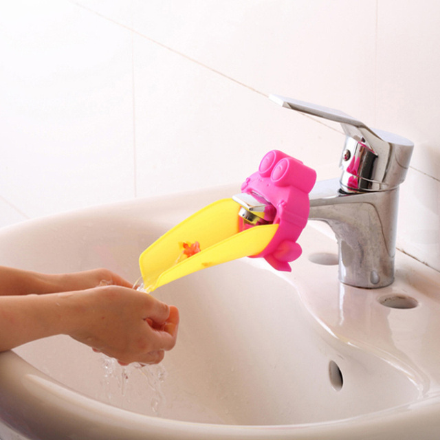 2 Color Cute Frog Bathroom Sink Faucet Chute Extender Children Kids Washing  Hands Convenien Bathroom Accessaries