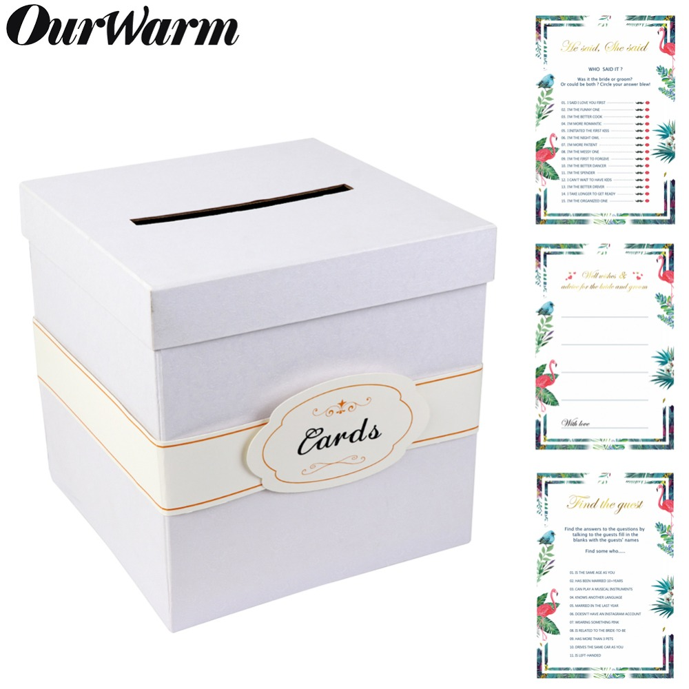 OurWarm Wedding Gift Card Box DIY Paper Money Box Wedding Party Favors Advice Cards Boxes Bridal Shower Birthday Party Supplies