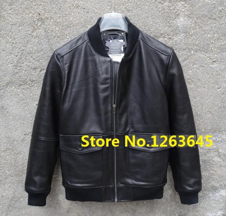 Brown Blue Black Cheap Genuine Leather Jacket Men Natural Sheepskin