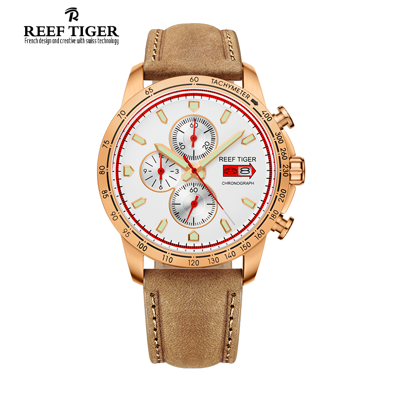 Reef Tiger/RT Sport Watch for Men Chronograph Quartz Watches with Date Rose Gold Watch with Luminous  Markers RGA3029 yn e3 rt ttl radio trigger speedlite transmitter as st e3 rt for canon 600ex rt new arrival