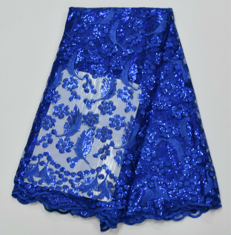 African Tulle Lace Fabric With Sequins Royal blue Yellow Fushia White African French Lace Fabric High