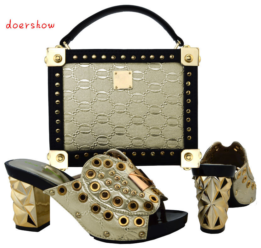 doershow African Shoe and Bag Matching Set African Wedding Shoe and Bag Sets Women Shoe and Bag To Match for Parties  PUW1-20 red african wedding shoe and bag sets women shoe and bag to match for parties elegant italian women shoe and bag set