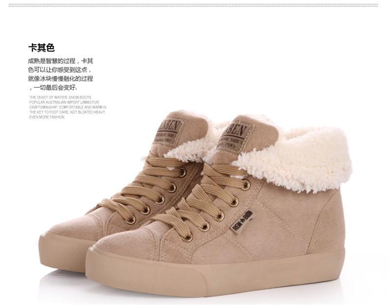New Women Winter Faux Suede Leather Warm Plush Ankle Boots Autumn Women Shoes Fur Snow Boots Comfortable Running Shoes Sneakers 46