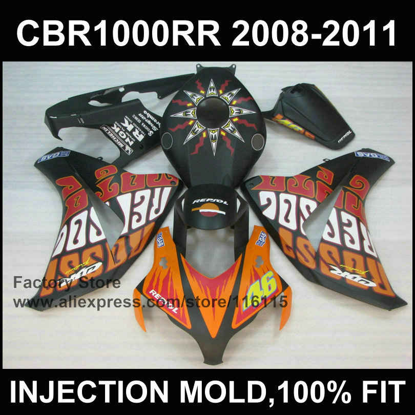 Fairing parts for HONDA CBR 1000 RR  fairing  2008 2009 2010 2011 cbr1000 rr black repsol Injection molding bodyworks arashi motorcycle radiator grille protective cover grill guard protector for 2008 2009 2010 2011 honda cbr1000rr cbr 1000 rr