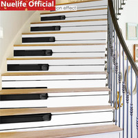 Black and white piano key design wall stickers living room bedroom kids room music classroom waterproof stair stickers