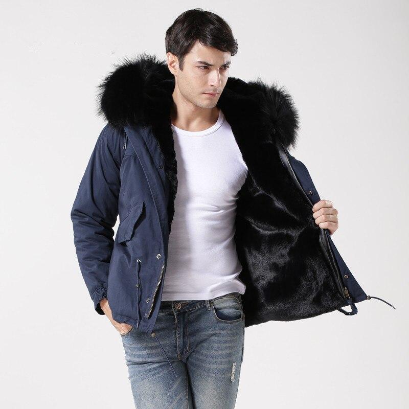 2017 abrigo de invierno azul de los hombres moda cálida chaqueta trabajo, viento Pieles de animales forrado Pieles de animales capa