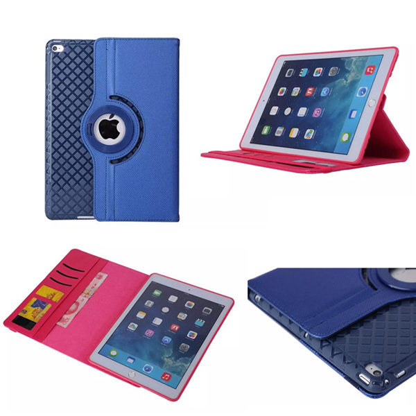 OST For iPad Air2 360 Degree Rotating Stand PU Leather With Grid pattern Soft TPU Back Case Smart Cover For Apple iPad Air 2