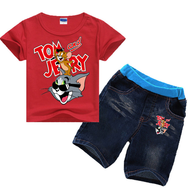 73ba84a7e 2-8Years Verano 2018 Tom and Jerry Clothing Kids Girls Clothes Summer  Outfits Baby Boy Summer Set Tshirt Jeans Set 2pcs Shorts