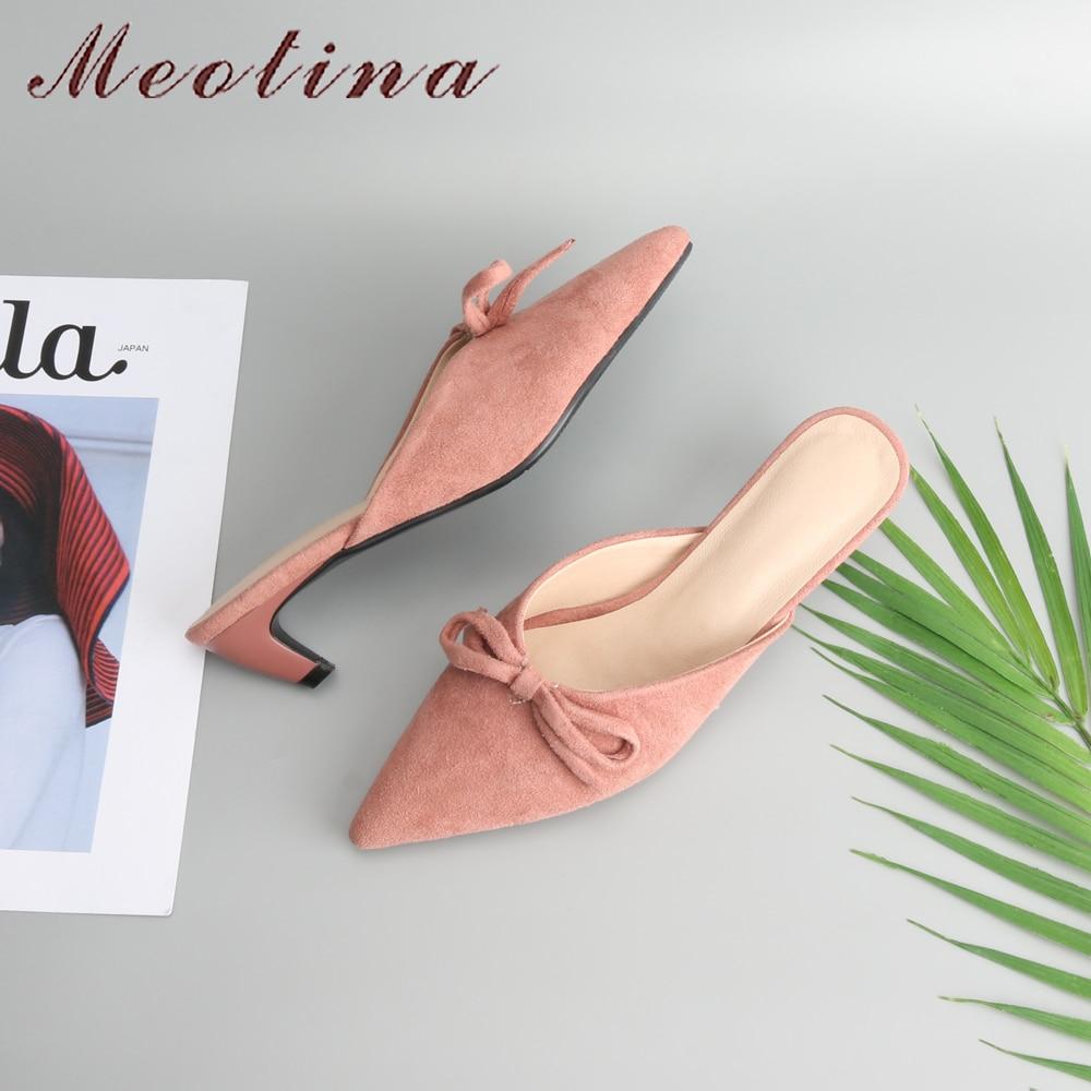 Femmes Sur Med Rose Casual noeud Dames Mules Printemps Pompes Noir rose Bout Chaton Slip Pointu Talons Meotina 2018 Arc Chaussures rouge Noir fd6pqfxw