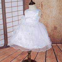 2 14 Years Kids Organza Embroidery Girl Party Dress Kids Ball Gowns White Flower Girl Dresses