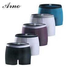 Купить с кэшбэком Arno Brand Men's Underwear 5Pcs\lot Mens Sexy Underwear Soft  Cotton Boxers Breathable Boxer Shorts