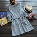 Forest Mori Girl 2016 Summer Women's Arts Wild Plaid Pattern Elastic Waist Wood Button  long-sleeved Dress Japanese Style K012