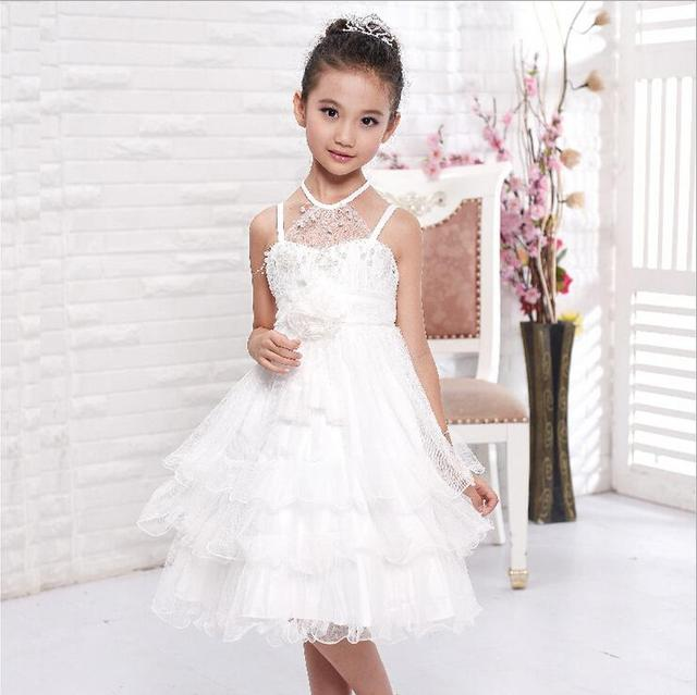 Ball Gown Wedding Dresses Lace White Fancy Girls For 10 Year Olds Party Vestidos