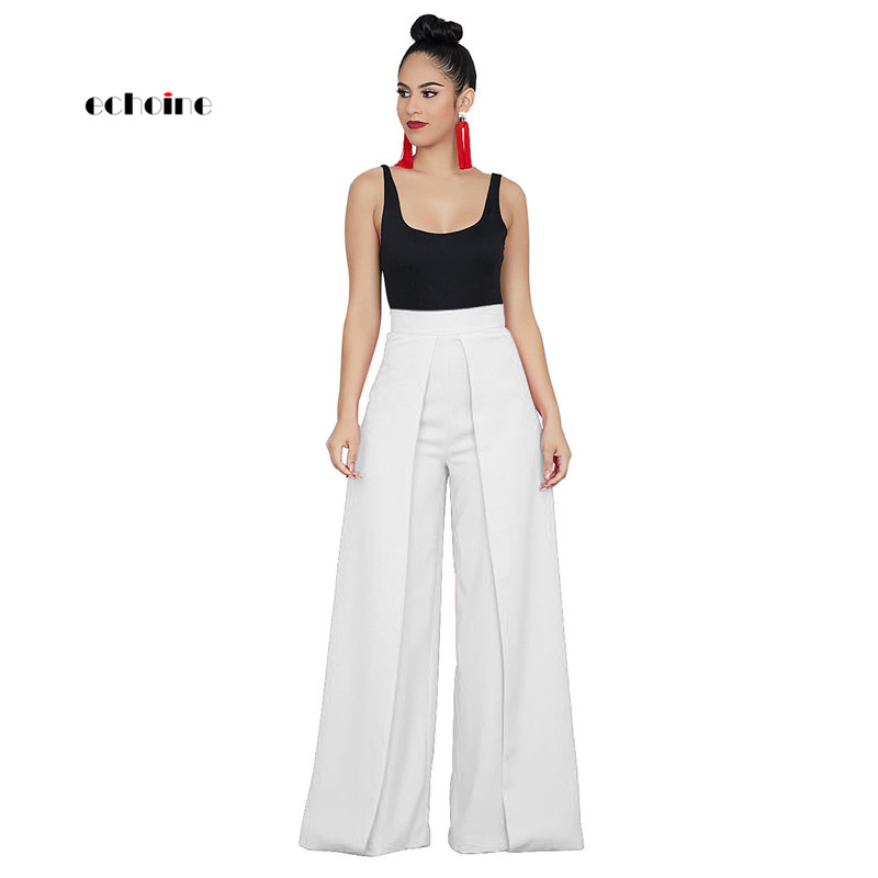 Echoine Women Long   Pants   Fashion Casual   Wide     Leg     Pants   Zipper High Waist Loose Solid Trousers Comfort Graceful Female Streetwear
