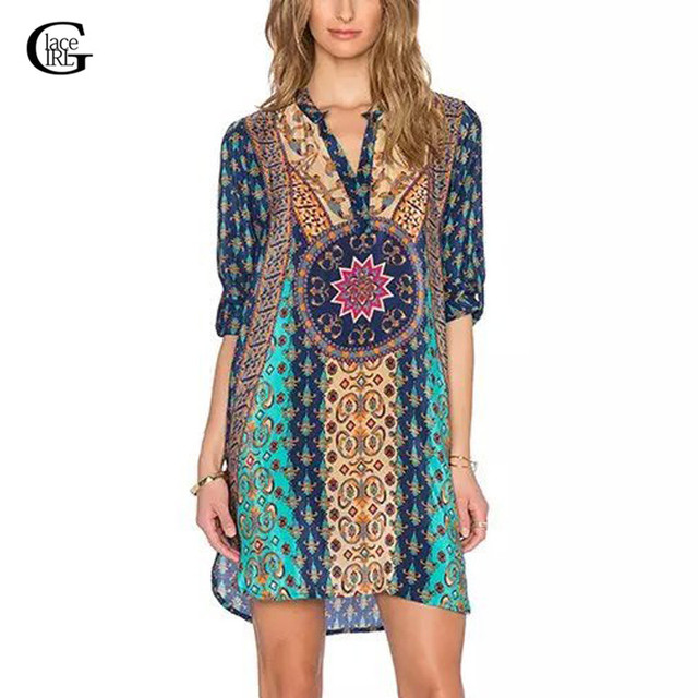 329439effda2 Lace Girl Ethnic Totem Floral Geometric Print Dress 2018 Sexy V-Neck Half  Sleeve Shift Dress Casual Women Baroque Retro Dress