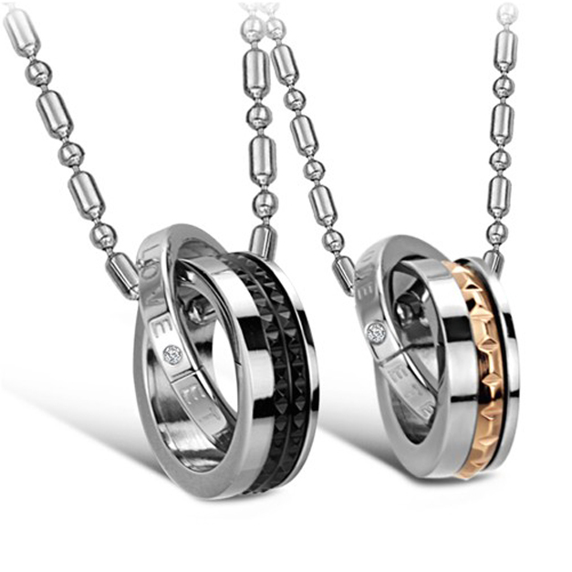 Fashion Bijoux Brand Jewelry 316LStainless Steel Black Or Rose Gold color And Shining Crtstal Drill Lovers Pendant Necklece