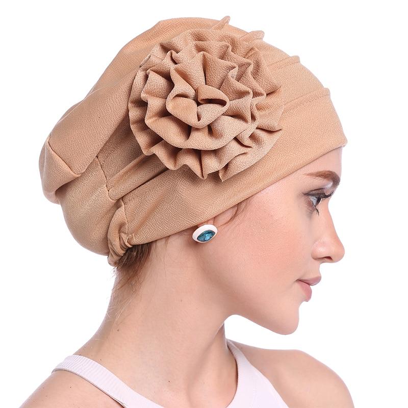 Babalet Wanita Elegant Soft Side 3D Bunga Chemo Cancer Beanie Muslim - Pakaian kebangsaan - Foto 4
